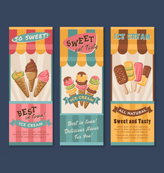Banners of ice cream for cafe vector