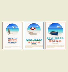 Beautiful retro set vintage seaside view vector
