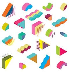 Blocks isometric color design elements vector