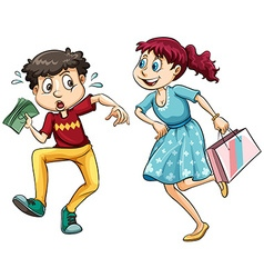 Boy with money and girl with shopping bag vector
