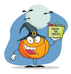Cartoon pumkin a bag of candy vector