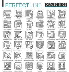 Data science technology outline mini concept vector