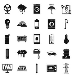 Electrical energy icons set simple style vector