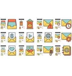 Email line icon set vector image