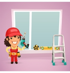 Female worker is installing the window vector
