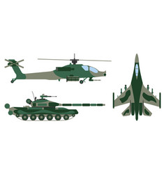 Fighter aircraft tank helicopter military set vector