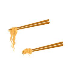 Flat asian noodle wok udon on sticks set vector