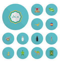 Flat icons malay mosque genie and other vector
