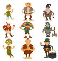 gnomes dwarfs or elf and leprechaun cartoon magic vector image