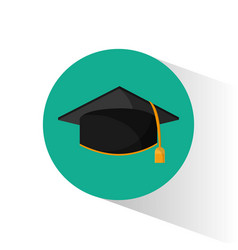 Graduation cap education shadow vector