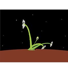 Green alien attacking space rockets vector