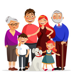 happy family standing together hugging smiling vector image vector image