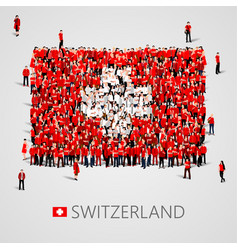 large group of people in the shape of swiss flag vector image