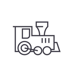 Locomotive train toy line icon sign vector