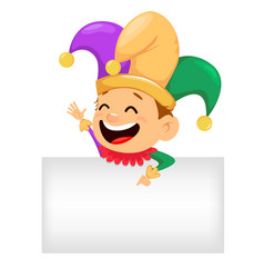 mardi gras jester showing on blank placard vector image