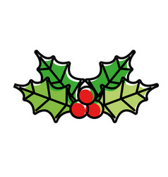 merry christmas decoration leaves holly berry vector image