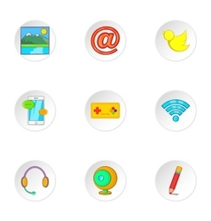 Messages over internet icons set cartoon style vector image