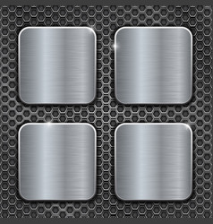 metal brushed square buttons on perforated vector image vector image
