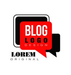 Minimalist vlog or video blog emblem with black vector