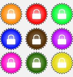 Pad lock icon sign a set of nine different colored vector