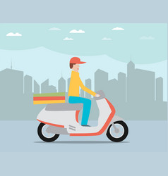 Pizza delivery by courier on scooter in the city vector