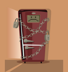 sad refrigerator character locked with chain vector image vector image