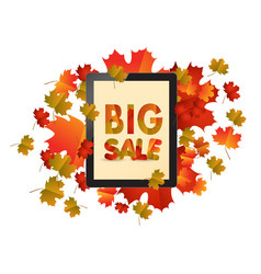 Sales tablet with autumn leaves isolated on white vector