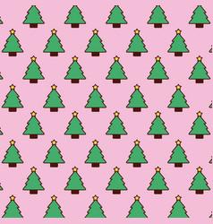 seamless pattern christmas tree pine star vector image vector image
