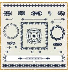 set of vintage floral pattern design elements vector image