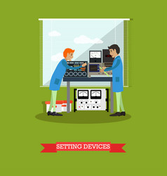 setting devices in physical laboratory vector image