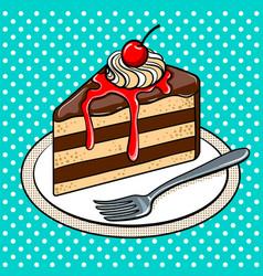 Slice of cake on plate pop art vector