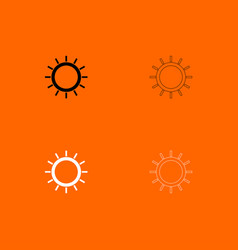 sun black and white set icon vector image vector image