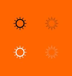 Sun black and white set icon vector