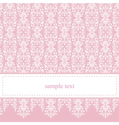 Sweet elegant baby pink lace card or invitation vector image vector image