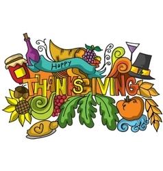 Thanksgiving color doodle art vetcor vector