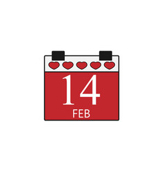valentines calendar flat icon valentines day vector image vector image
