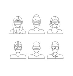 virtual reality glasses avatars thin line set vector image vector image