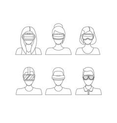Virtual reality glasses avatars thin line set vector