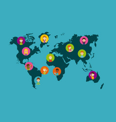world map and people vector image vector image