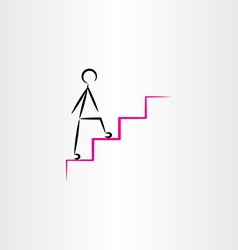 Man climbing stairs icon design element vector