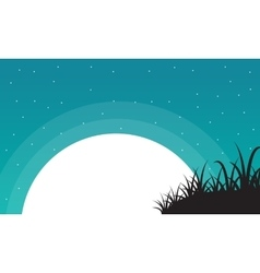Grass with big moon landscape valentine vector