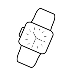 Classic analog watch wearable technology outline vector