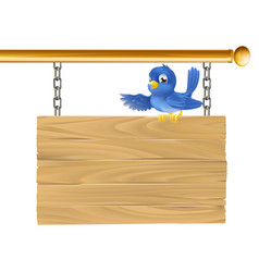 Cute bluebird hanging sign vector