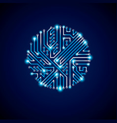 Round luminescent blue circuit board with vector
