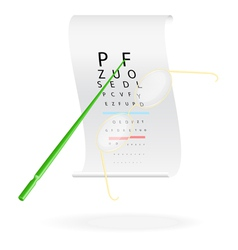Glasses on a eye sight test chart vector