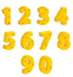 Cheese decorative numbers vector