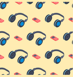 Headphones music sound stereo dj seamless pattern vector