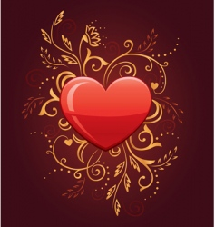 Glamour heart with floral ornate vector