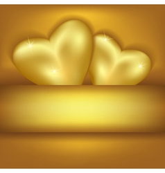 Golden stylish background with hearts vector