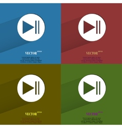Color set play button web icon flat design vector